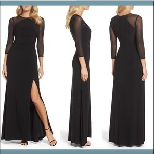 NWT Adrianna Papell Illusion Jersey Gown black